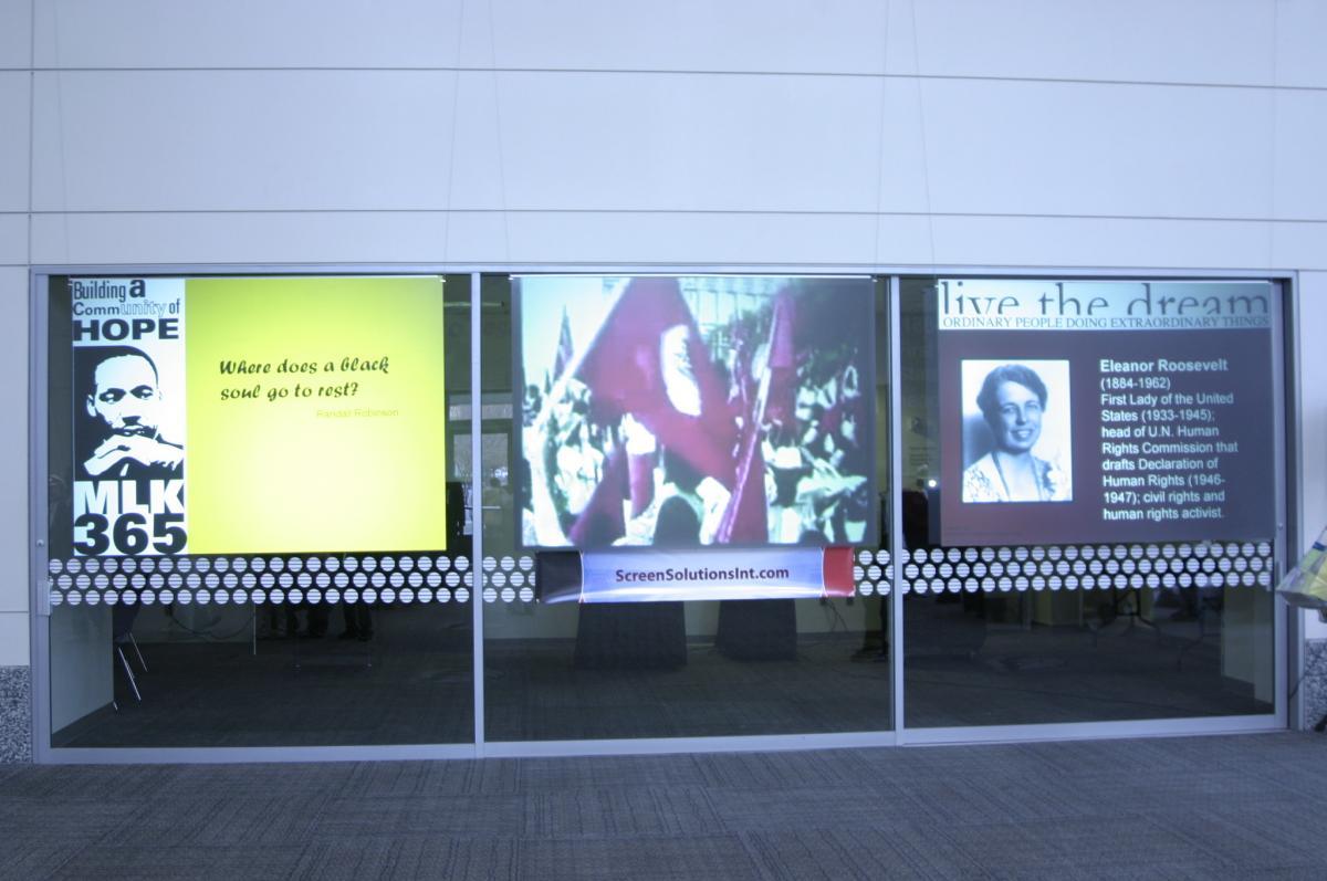 Projection Screen Rear Projector On Store Window