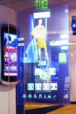 Holographic Projection Touch Screen on Glass for Outfit Catalog