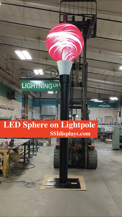 Digital Video Sphere Integrated onto Lighpole