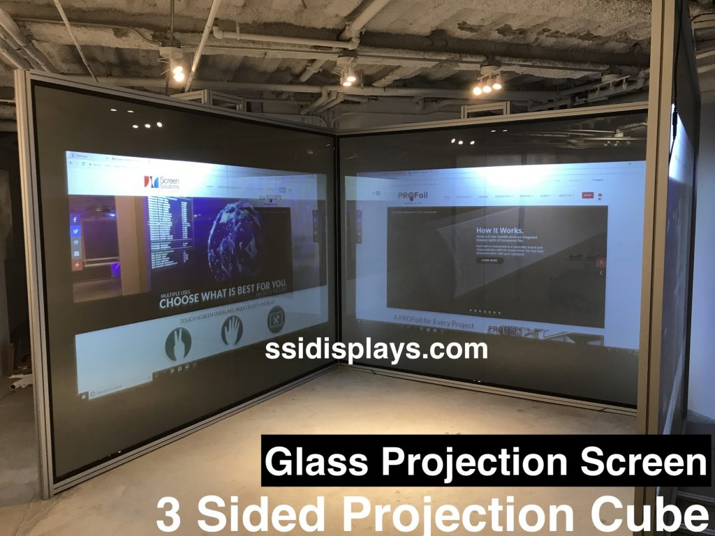 Glass Projection Screen - 3 Sided Short Throw Projection Cube