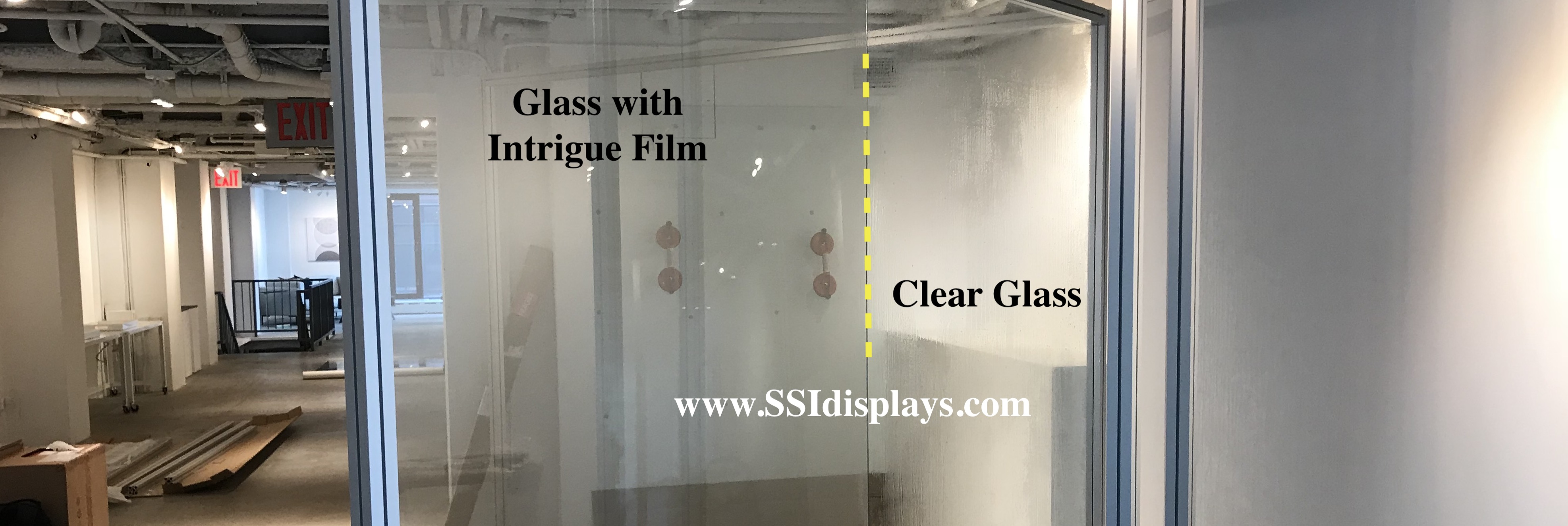 Glass with transparent rear projection film screens