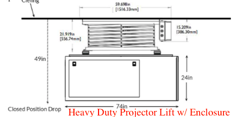 Heavy Duty Projector Lift with Projector Enclosure Hush Box