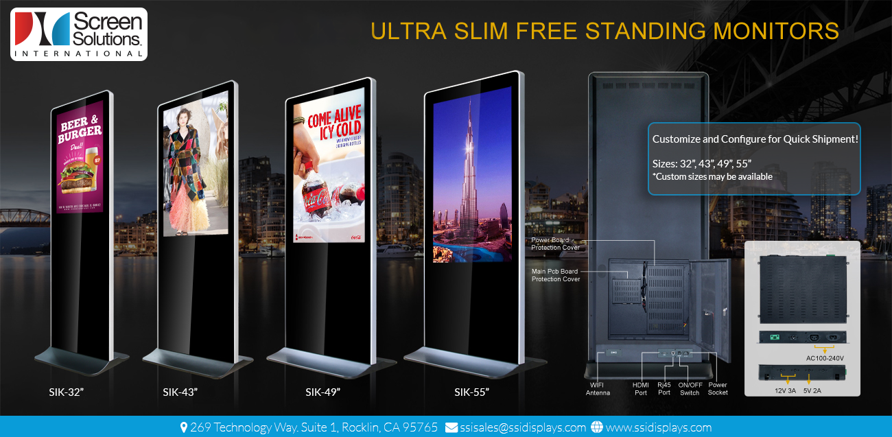 Indoor Kiosks - Sizes with Touch Screens