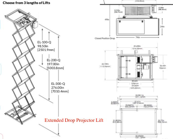 Projector Scissor Lift Extended Drop Length
