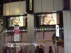 Rear Projection Film Screen on Storefront Retail Window TV
