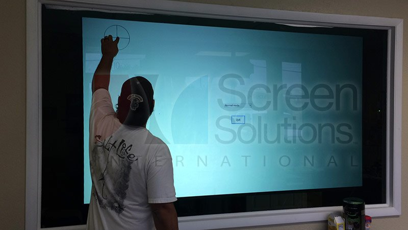 Rear Projection Film and Thru Glass Touch Screen on Glass Window