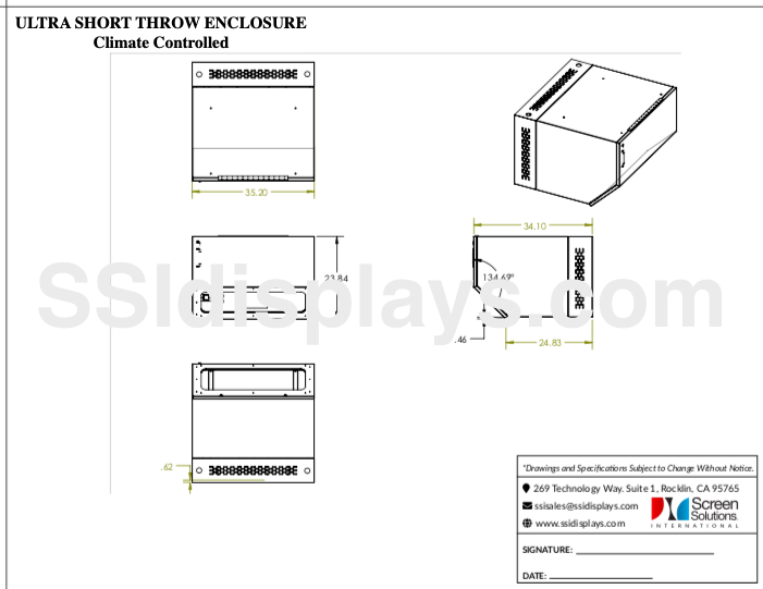 UST Projector Enclosure Drawing - Epson ELPx01, Epson ELPX02 - UST Outdoor Projector Enclosure