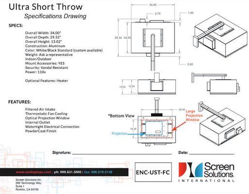 Ultra Short Throw Outdoor Projector Enclosure UST