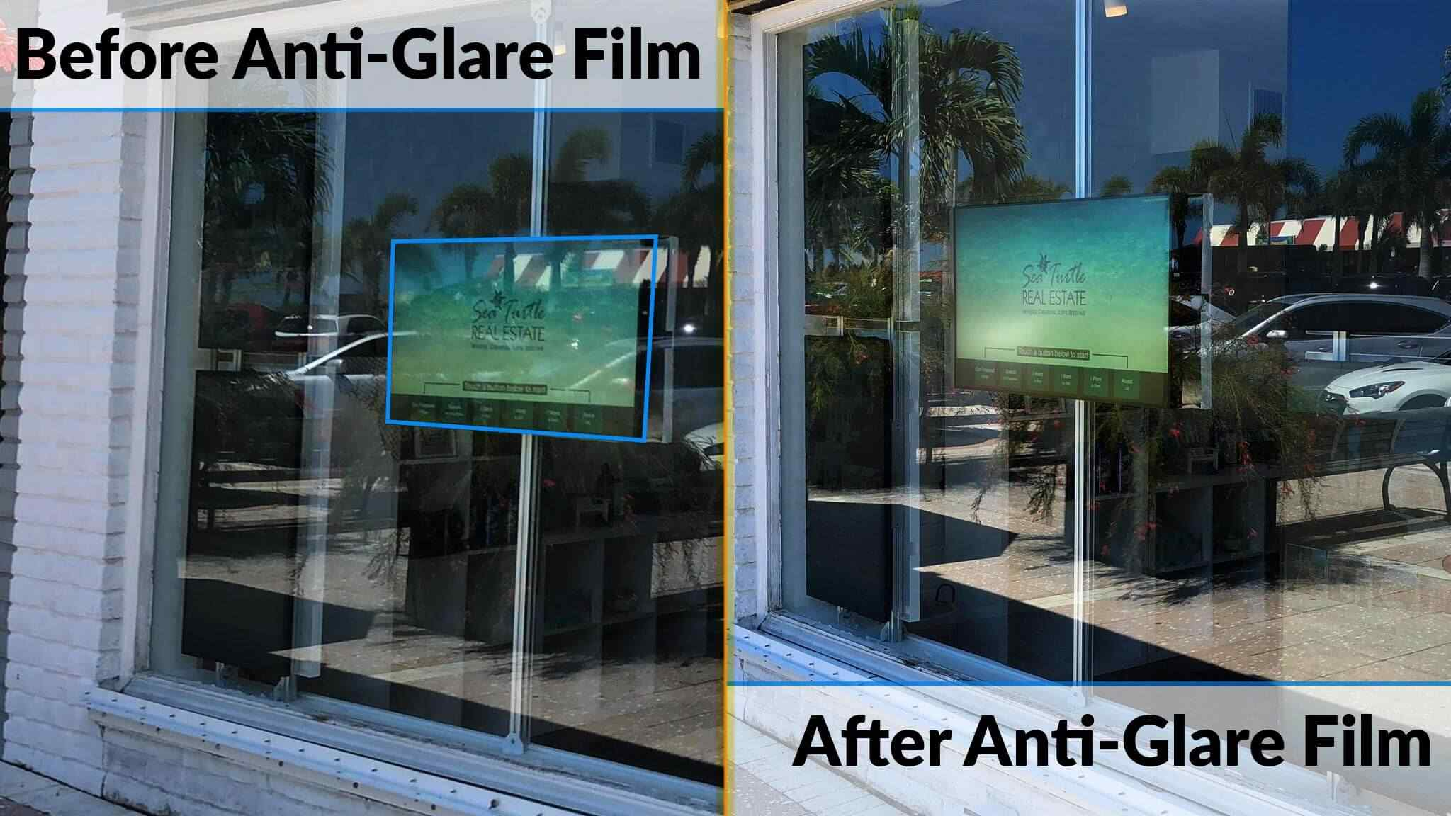 Anti Glare Film For Digital Displays Behind Glass With Glare Problems